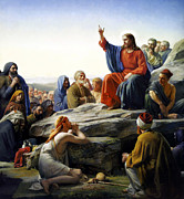 Christ Painting Framed Prints - Sermon On The Mount Framed Print by Carl Bloch