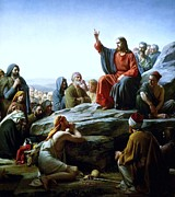 Sermon Painting Prints - Sermon On The Mount Print by Pg Reproductions