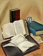 Pen  Pastels Framed Prints - Sermon Preparation Framed Print by Rita Lackey