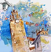 Travel Sketch Prints - Serpa  Portugal 08 bis Print by Miki De Goodaboom