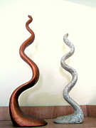 Dancing Sculpture Posters - Serpants Duo pair of abstract snake like sculptures in brown and spotted white dancing upwards Poster by Rachel Hershkovitz