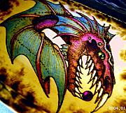 Mixed Media Pyrography Pyrography - Serpent chest interior by Amanda Martin