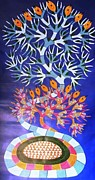 Gond Art Gallery Painting Originals - Serpent Tree Rsu 02 by Ram Singh Urveti