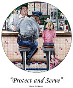 Law Enforcement Paintings - Serve and Protect by John Kiernan