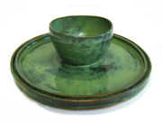 Hand Thrown Pottery Originals - Serving Dish or Chip and Dip Server by Vernon Nix