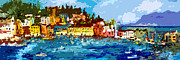 Panoramic Painting Framed Prints - Sestri Levante Liguria Italy Panoramic Abstract Framed Print by Ginette Fine Art LLC Ginette Callaway