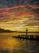 Cape Cod Pastels Posters - Sesuit Harbor at Sunset Poster by Jack Skinner