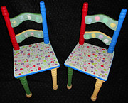 Rocking Chairs Originals - Set of 2 Childrens Chairs - Mosaic - Mixed Media - Buttons - Rocking Horses  Building Blocks  by Bonnie Brown