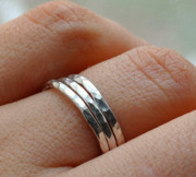 Ring Jewelry - SET OF 3 sterling silver stacking band rings hammered texture by Deniss Saganai