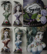 Purple Ceramics - Set of Busts - 4 Seasons by Shirley Heyn