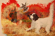 Fall Scenes Paintings - Setter in Reds by Lynn Beazley Blair