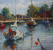 Morning Pastels - Setting Sail from Honfleur Harbor by Beth Brooks