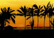 Palm Trees Mixed Media Posters - Setting Sun in the Tropics Poster by Michael Vigliotti