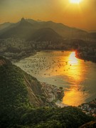 Lush Foliage Prints - Setting Sun Over Botafogo Print by by AJ Brustein