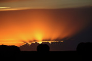 Storm Digital Art - Setting sun peaking out from storm clouds in Saskatchewan by Mark Duffy