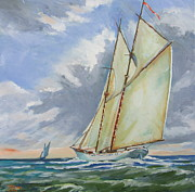 Masted Ship Paintings - Setting  Sun by Thomas MACMILLAN