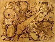 Sepia Pyrography Prints - Settled  Print by Jo Schwartz
