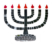Candleholder Prints - Seven-branched Temple Menorah Print by Christine Till