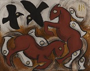 Running Horses Paintings - Seven Fish by Sophy White