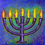 Sacred Painting Originals - Seven Flames by Angela Treat Lyon