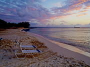 Cayman Posters - Seven Mile Beach sunset Poster by Carey Chen