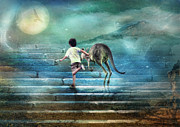 Kangaroo Digital Art Metal Prints - Seven Steps To The Moon Metal Print by Trudi Simmonds