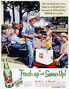 Overalls Framed Prints - Seven-up Soda Ad, 1954 Framed Print by Granger
