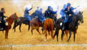 Plains Digital Art - Seventh Cavalry in action by David Lee Thompson