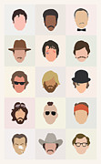Actors Digital Art Posters - Seventies Movie Dudes Poster by Mitch Frey