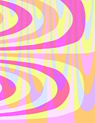 Designs Digital Art Prints - Seventies Swirls Print by Louisa Knight