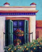 Flowerpots Framed Prints - Sevilla Balconny Framed Print by Candy Mayer