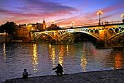 Sunset Tapestries Textiles Metal Prints - Sevilla Fishing Metal Print by Skip Hunt