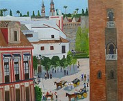 Seville Painting Prints - Seville Cathedral Plaza Print by Bill White