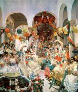Fountain Paintings - Seville by Joaquin Sorolla y Bastida
