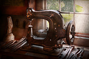 Saddle Framed Prints - Sewing Machine - Leather - Saddle Sewer Framed Print by Mike Savad