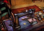 Seamstress Posters - Sewing Machine - Sewing Project Poster by Mike Savad