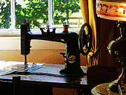 Sewing Rooms Posters - Sewing Machine and Lamp Poster by Susan Savad