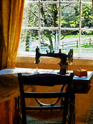 Sewing Rooms Posters - Sewing Machine By Window Poster by Susan Savad