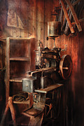 All-metal Photo Posters - Sewing - Sewing Machine for Saddle Making Poster by Mike Savad