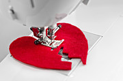 Difficulties Love Posters - Sewing Together Parts Of Broken Heart Poster by Elena Elisseeva