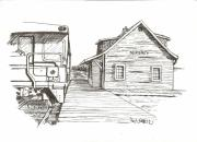 Historic Site Mixed Media Prints - Sexsmith Train Station Print by Rick Stoesz
