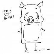 Pig Drawings - Sexy Beast Comic by Karl Addison