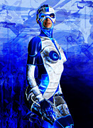 Poser Prints - Sexy Cyborg Print by Steve Thorpe