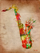 Water Color Digital Art Metal Prints - Sexy Saxaphone Metal Print by Nikki Marie Smith