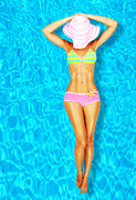 Relaxed Photo Framed Prints - Sexy woman body in the pool  Framed Print by Anna Omelchenko