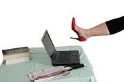 High Heeled Photo Prints - Sexy woman kicks a laptop  Print by Ilan Rosen
