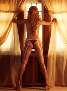 Sun Tanned Framed Prints - Sexy Woman Standing at a Window Framed Print by Oleksiy Maksymenko