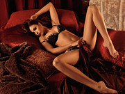 Relaxed Prints - Sexy Young Woman Lying in Bed Print by Oleksiy Maksymenko