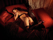 Relaxed Framed Prints - Sexy Young Woman Lying on a Bed Framed Print by Oleksiy Maksymenko