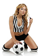 Kneeling Prints - Sexy Young Woman with a Soccer Ball Print by Oleksiy Maksymenko